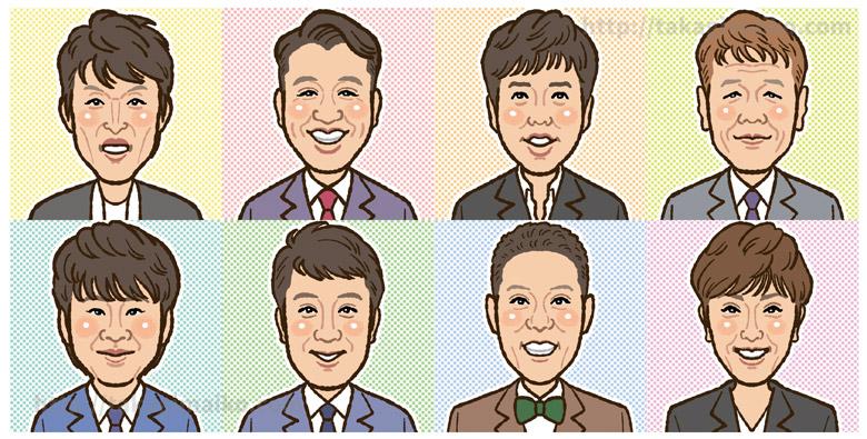 お笑い芸人の似顔絵(アロー&スケルトンタウン2018年7月号)