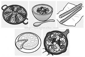 スペイン料理のイラスト(パエリア・ガスパチョ・チュロス・トルティージャ・アヒージョ)