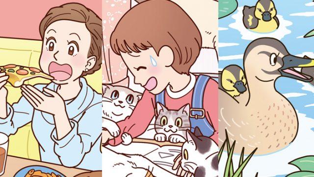 お仕事イラスト:女子会のイラスト・子供と猫のイラスト・カルガモ親子のイラストまちがい探し