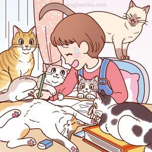 勉強する女の子と猫のまちがい探しイラスト
