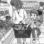 スーパーで買い物をする親子のイラスト
