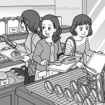 パン屋で買い物をするママ友のイラスト