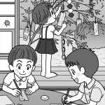 昭和の七夕の風景イラスト