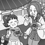 あんみつを食べる親子のイラスト