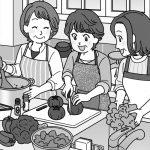 料理を作る主婦のイラスト