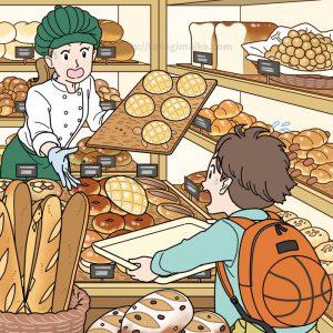 パン屋さんの隠し絵問題用イラスト製作