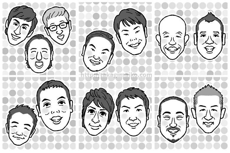 似顔絵(ロバート、かまいたち、バイきんぐ、中川家、チュートリアル、笑い飯)