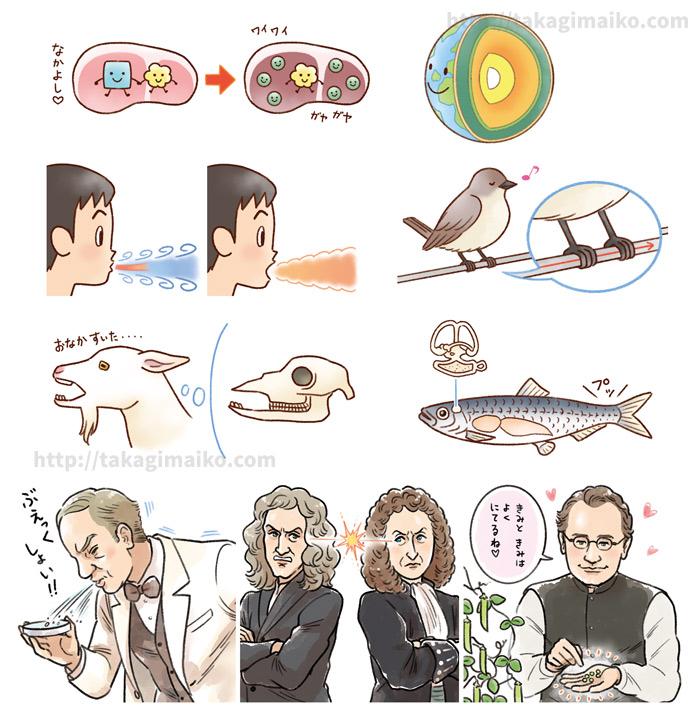 科学・子供・生き物・偉人のイラスト(『世界一トホホな科学事典』)