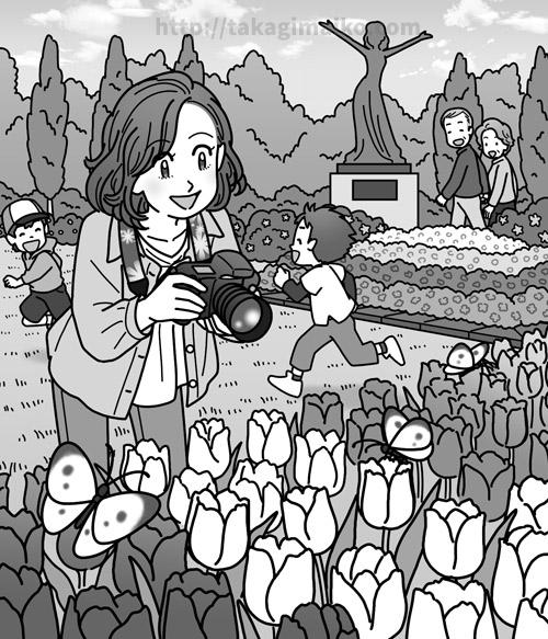公園で花を撮影する女性のイラスト