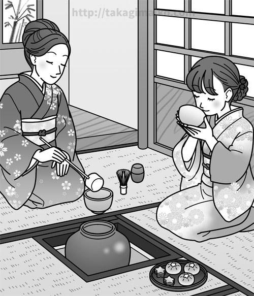 茶室の中でお茶とお菓子を楽しむ女性たちのイラスト