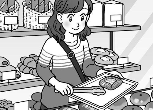 パン屋さんの店内で買い物をする女性のイラスト