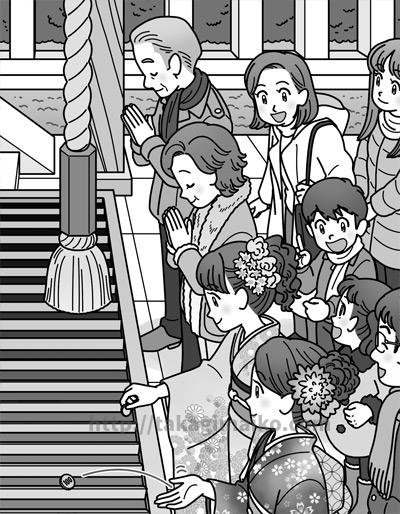 お正月・初詣の人々の様子のイラスト