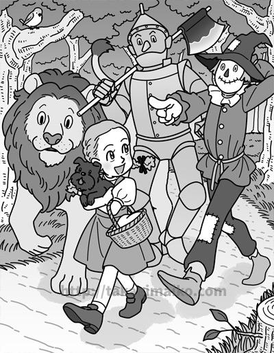 「オズの魔法使い」のドロシーとカカシ、ブリキの木こり、臆病なライオンのイラスト