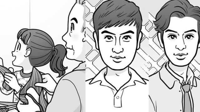 端午の節句でちまきを食べる家族のイラスト/新旧イケメン有名人の似顔絵(お仕事イラスト)