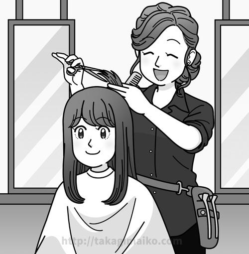 髪をカットする美容師と女性のイラスト