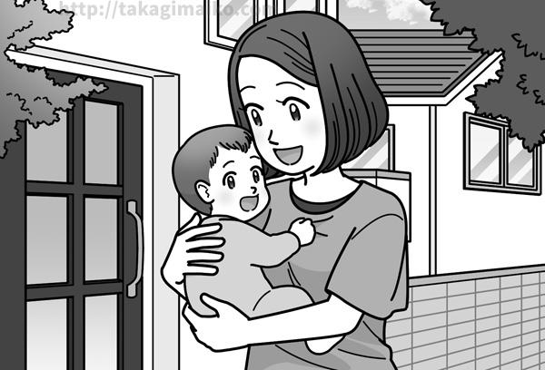 町中を散歩するお母さんと赤ちゃんのイラスト