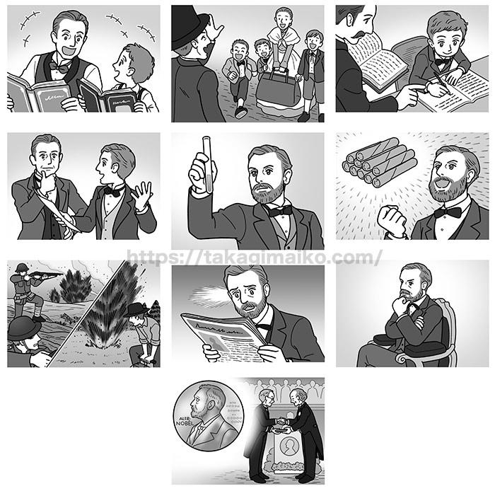 アルフレッド・ノーベルの生涯のイラストカット制作(クロスワードランド)