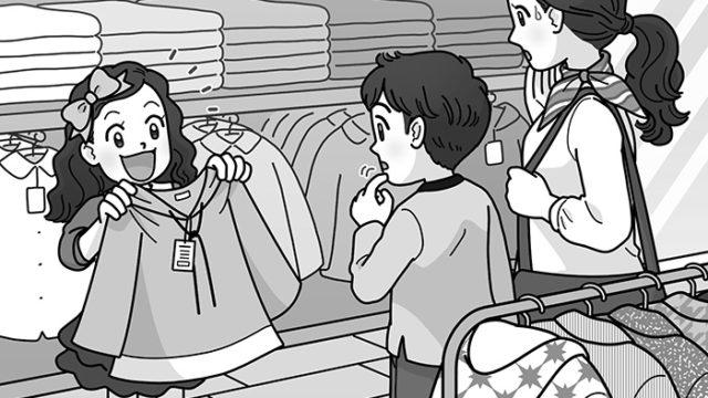 イラストのお仕事:子供服売り場で洋服を選ぶ親子・家族のイラスト