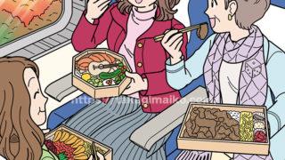 旅行で駅弁を食べるシニア女性のイラスト(かくし絵)