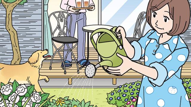 庭でガーデニングをする女性のイラスト(かくし絵)