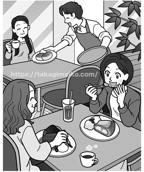 カフェで食事をする女性のイラスト