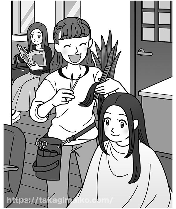 美容院で髪をカットしてもらう女性と美容師のイラスト