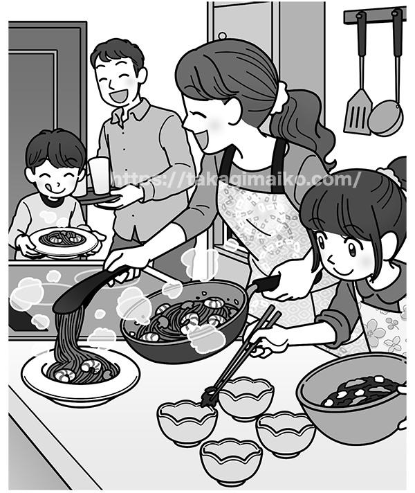料理をする家族のイラスト