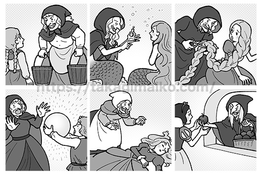 童話のイラスト(めっけ鳥,人魚姫,ラプンツェル,水晶玉,眠り姫,白雪姫)