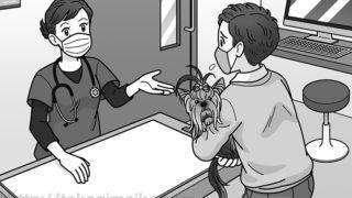動物病院の診察台と獣医のイラスト