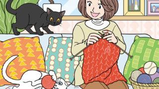 編み物をするシニア女性と猫の隠し絵問題用イラスト製作(毎日が発見2021年1月号)